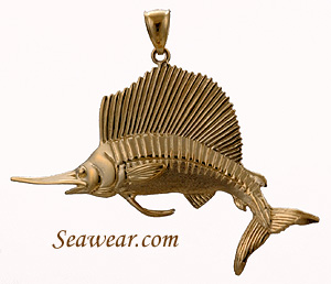 14kt full round 3D sailfish necklace pendant