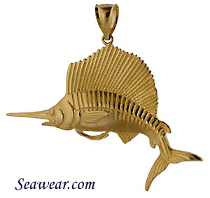 14kt half round sailfish necklace pendant