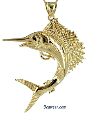 leaping twisting turning sailfish jewelry necklace pendant
