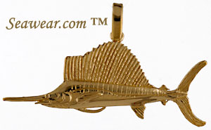 14kt hand made sailfish pendant