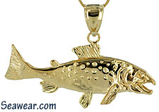 full round gold coho salmon swimming upstreat jewelry necklace pendant