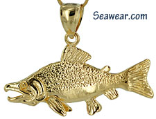 14kt full round sockeye salmon jewelry charm or pendant