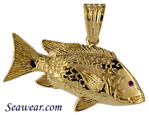 14k full round red snapper jewelry pendant