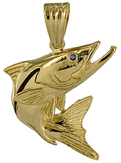 14kt gold leaping snook pendant