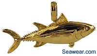 albacore tuna jewelry necklace charm pendant in 14kt gold