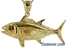 full round half ounce gold blue fin tuna necklace pendant