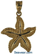 14kt smooth ridged starfish