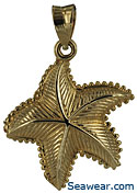 ridged and cross lined starfish necklace pendant