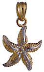 baby starfish pendant in two tone gold