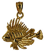 small 14kt gold lion fish pendant
