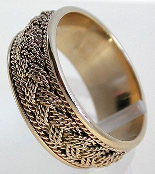 yellow gold turks head wedding band