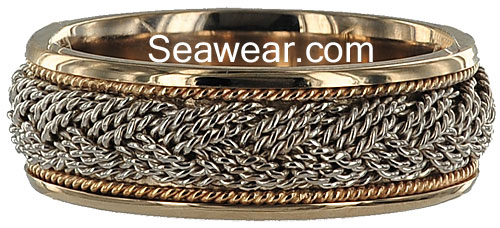 14kt two tone Turks Head wedding ring