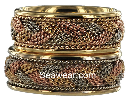 hand woven tri-gold wedding bands