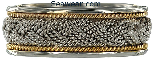 Hand woven braided Turks Head wedding ring
