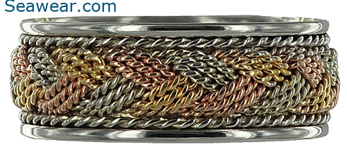 Tri gold turks head woven braid wedding ring