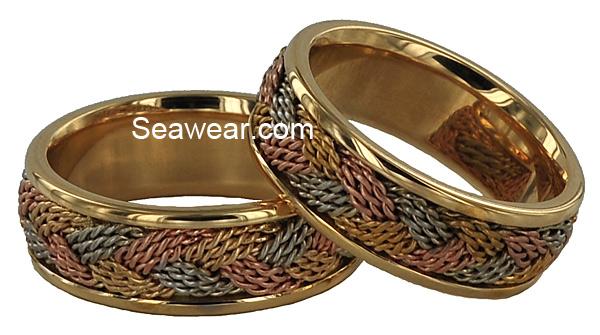 tri-color gold hand woven braid turks head wedding bands