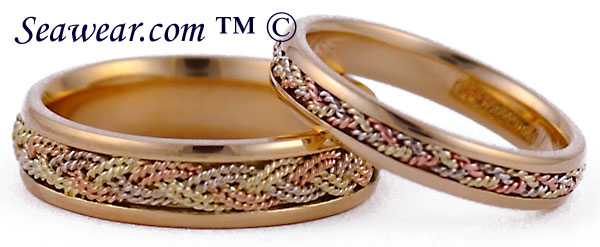 6mm and 4mm Turks Head wedding band set