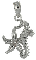 white gold starfish seahorse necklace charm pendant